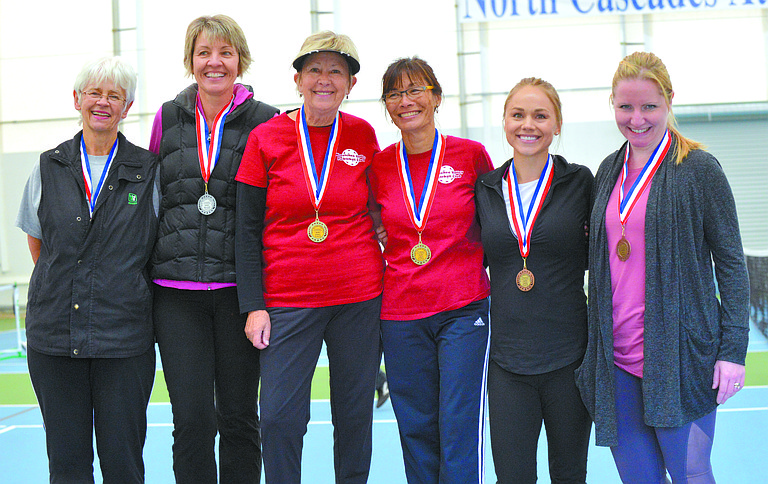The Top 3 women's doubles teams receive medals at the inaugural North Cascades Fall Pickleball Classic that was competed Oct. 14-15 at North Cascades Athletic Club in Omak. The teams with medals included Kelly Olson and Jenny Pierce (silver), Karen Rogers and Judy Spence of Wenatchee (gold) and Kellie Davies and Kim Kleckner of Omak (bronze).