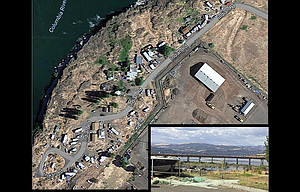 The Lone Pine in-lieu site, seen here in a Google Earth image, occupies a narrow strip of land along the Columbia River east of The Dalles Bridge. A comforting view from Lone Pine, inset, showing the Columbia River behind a rack used to hang fishing nets, is what makes a challenging life at the Native American tribal fishing in-lieu site tolerable, one resident said.