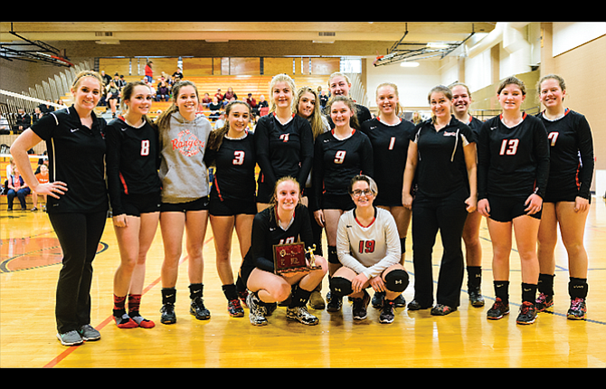 Dufur Ranger volleyball advanced to the state sub-round level after a runner-up finish at districts this past weekend in Moro. The LadyRangers defeated Ione, but lost to SWC in the finals. In the photo are, from left, head coach Kristin Whitley, Sydnee Byers, Zoe Hester, Alexus Outlaw, Haili Wolf-DePriest, Kalie Ellis, Mikayla Kelly, Kayla Bailey, Katie Beal, assistant coach Dezirah Remington, Maddie Smith, Trinity Blake and Reghan Smith. In the front row are, from left, Chloe Beeson and Aleksei Uhalde. Dufur hosts Griswold in a state sub-round match at 6 p.m. on Wednesday.