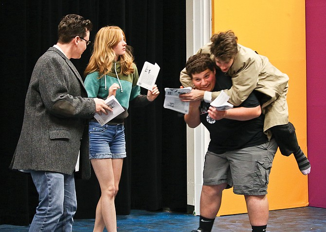 Zillah High School actors rehearse for the Nov. 2 opening of Zillah High School Drama Club presentation of The Pink Panther Strikes Back, Curtain time is 7 p.m.