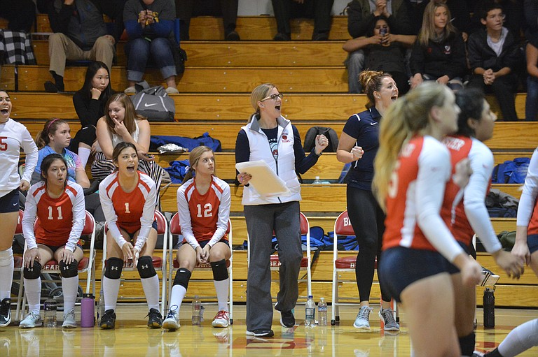 Brewster celebrates a point late in the second set, which the Bears pulled out 25-22 over Tonasket on Oct. 24. Those pictured, from left, include Ana Aparicio (11), Zulema Sotelo (1), Elizabeth Stam (12) and coach Marcy Boesel.