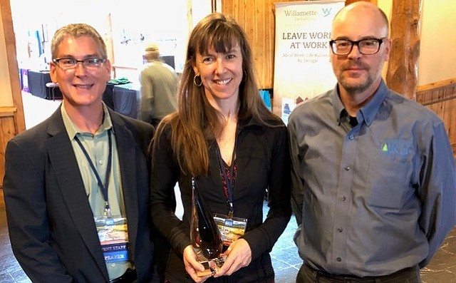 """Lynne Frost, """"2017 Oregon Rural Health Hero,"""" with Scott Ekblad, director of the Oregon Office of Rural Health, and Robert Duehmig, deputy director of the Oregon Office of Rural Health."""