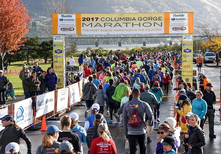 Columbia gorge marathon this year brought in over 3,000 people. Athletes, family and friends from six different countries were in attendance.