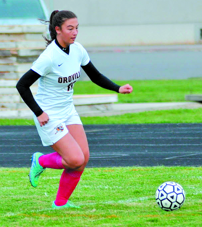 Tori Kindred of Oroville during match against Manson, which the Hornets won, 2-1, following a shootout (3-1) on Oct. 24.