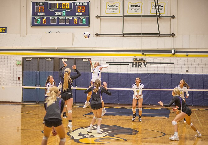 HRV volleyball didn't make it easy on themselves last Saturday in their first round playoff game as they had to climb back from being down early in each set against Wilsonville. HRV would eventually figure it out and win in three sets. (Left) Katie Kennedy had 11 kills against Wilsonville. Next up for HRV is a rematch against Summit from last year's 4th/6th place playoff game, which HRV lost 3-0. This year, Summit finished 20-6 overall and they're the number one seed in the OSAA tournament. The Eagles on Friday, Nov. 3 look to knock off Summit and advance to the semifinals.