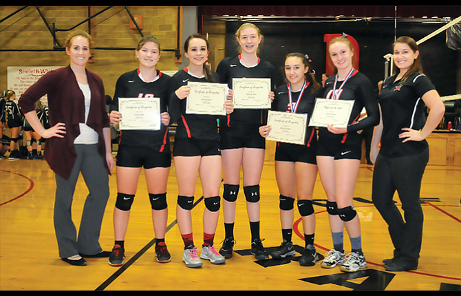 Dufur volleyball players and coaches, from left to right, head coach Kristin Whitley, Trinity Blake, Sydnee Byers, Mikayla Kelly, Alexus Outlaw, Chloe Beeson and assistant coach Dezirah Remington, came together for 13 wins, a district runner-up finish and a state sub-round berth this season. Beeson earned Player of the Year and a first-team bid, Outlaw was a second-teamer, both Byers and Blake were on the second team, and Kelly received an honorable mention.
