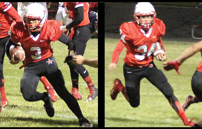 Dufur Ranger football players, from left to right, Asa Farrell and Tabor McLaughlin were major components to the No. 2 Ranger offensive and defensive attack Friday in their 1A state football matchup against No. 15 Lowell. No. 2 Dufur racked up 496 yards offense, 418 coming in the ground game, in a lopsided 72-0 drubbing of the Red Devils. Dufur is scheduled to host Adrian next Friday in a quarterfinal contest at Dufur High School at a time to be determined.