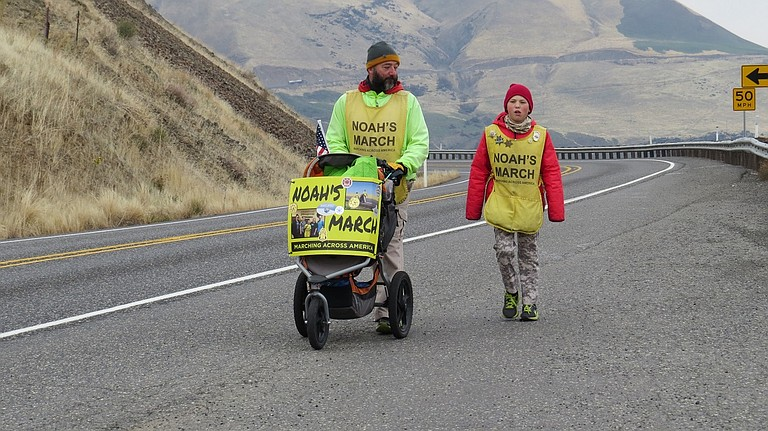 NOAH Barnes, 11, and his father Robert, started their 311th day on the road near Maryhill Winery Thursday and planned to make at least 17 miles that day along Washington State Route 14. They decided to travel the Washington side of the Columbia River because there would be less traffic than Interstate 84.