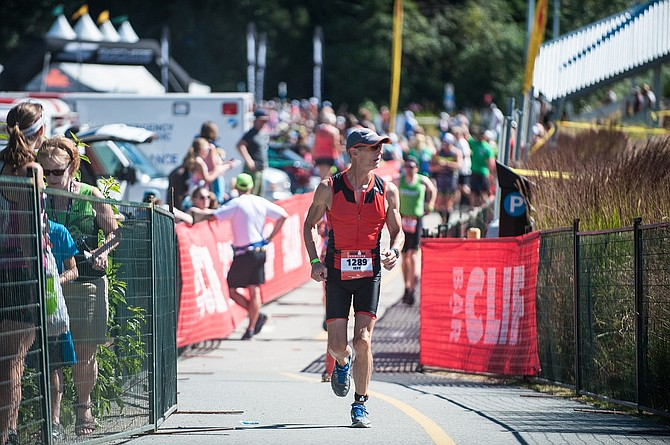 Triathlete Jeff Irwin at the Ironman 70.3 Canada event in late July after nine months of training.