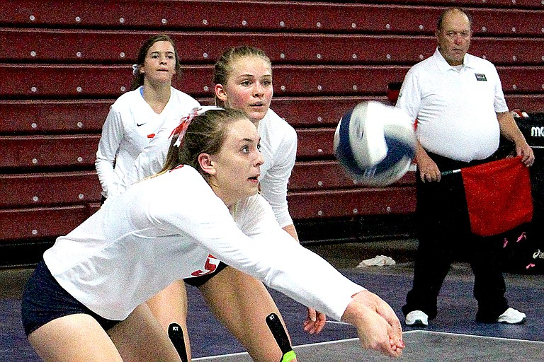 Maret Miller of Brewster passes the ball at the state 2B tournament Nov. 9 in the Yakima SunDome.