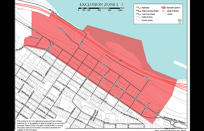 Exclusion Zone 1 is proposed for the downtown core.