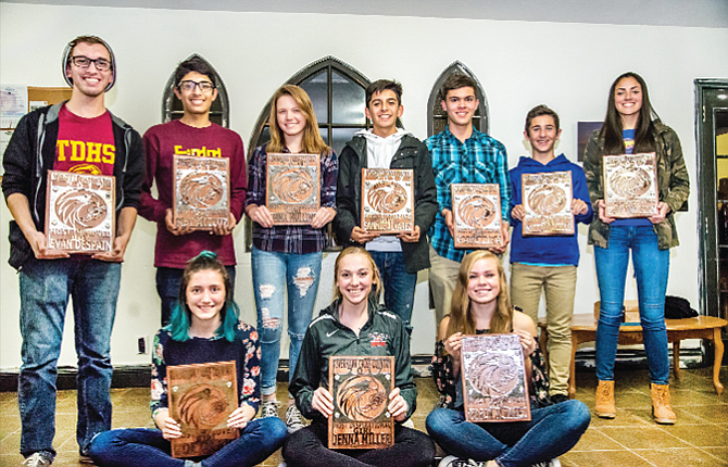 The Dalles cross country program celebrated a successful 2017 season with its award banquet last night at the Riverenza Café in The Dalles. Individual award winners were, pictured from left to right, starting in the back row, Evan Despain, Rey Aviluz, Emma Mullins, Sam Alvarez, Gabe Lira, Nick Caracciolo and Paulina Finn. Sitting in the front row are, from left to right, Zoe Orion, Jenna Miller and Marin Alvarez.