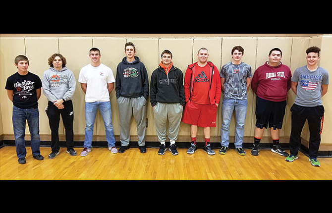 Sherman Husky football was well-represented in the Big Sky Conference All-League voting by opposing coaches with nine players taking awards. In the picture are, from left to right, Jeremy Ballesteros, Reese Blake, Bradley Moe, Treve Martin, Jacob Justesen, Nic Lesh, Caleb Fritts, Zack Fluhr and Tyler Jones. Justesen was named the league's Offensive Player of the Year, as well as first team on both sides of the ball.