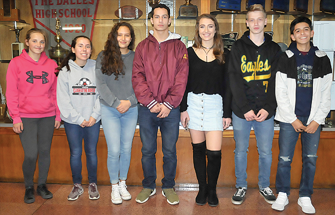 The Dalles High School recently honored several athletes for their team contributions during the month of October. In the photo are, from left to right, Hanna Ziegenhagen, Victoria Barragan, Karla Hernandez, Glenn Breckterfield, Jodi Thomasian, Reed Twidwell and Sam Alvarez.