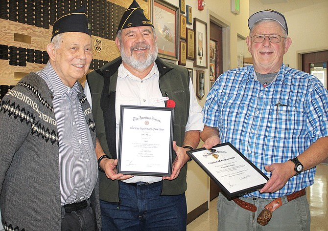 American Legion awards chairman Dudley Brown, left, presents John Myers and Ray Vining with awards during Post No. 73's annual Veterans Day Brunch awards ceremony Saturday in the Grandview Senior Center.