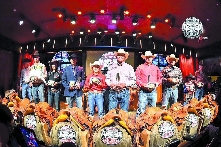 All-around winners this year at the Indian National Finals Rodeo included, far right, the youngest person to win a title, Rocksie Timentwa-Marchand.