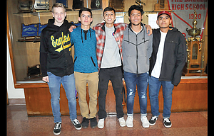 The Dalles boys' soccer had five players named to the Columbia River Conference all-league squad this fall. In the photo are, from left to right, Reed Twidwell, Jake Roetcisoender, Pedro Lopez, Alberto Gallegos and Julian Quintana. Gallegos and Roetcisoender received first team recognition and both Twidwell and Quintana secured spots on the second team. Varsity head coach Matthew Dallman picked up Coach of the Year honors.