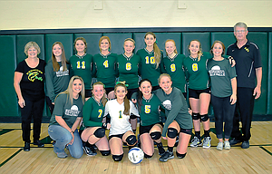 South Wasco County volleyball players and coaches come together for a group shot after a state sub-round match played on Oct. 28 in Maupin. In the back row, starting from left, are head coach Donna Barton, Reese Millis, Laurynn Davis, Emily Ellis, Jade McCoy, Jada Myers, Ana Popchock, Kyrsten Sprouse, assistant coach Carly Johnson and assistant coach Terry Stark. In the front row, from left, are assistant coach Crystal Pechanec, Madisen Davis, Jenna Wraught, Allie Noland and Jacqueline Noland. SWC had five players earn all-Big Sky Conference awards, led by Allie Noland and Myers, who were on the first team, Popchock was a second teamer, and both Jacqueline Noland and Sprouse were honorable mention picks.