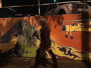 The Remains wall mural, on Third Street/Industrial Way/Columbia Avenue, is finished.