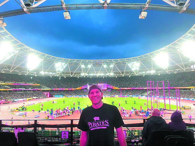 Erik Brucker, an Omak graduate, visited the famed Roger Bannister running track, also known as the Oxford University track, while he is teaching in England. Note the Whitworth Pirates T-shirt.