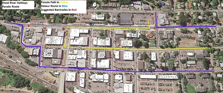 Dec. 1 HOLIDAY PARADE route has been revised slightly; in short, it follows the same stretch of Oak but will turn right at Second. The Dec. 1 parade begins at 6 p.m. with line-up beginning at Seventh and Oak at 5 p.m. The tree lighting will follow at 7 p.m