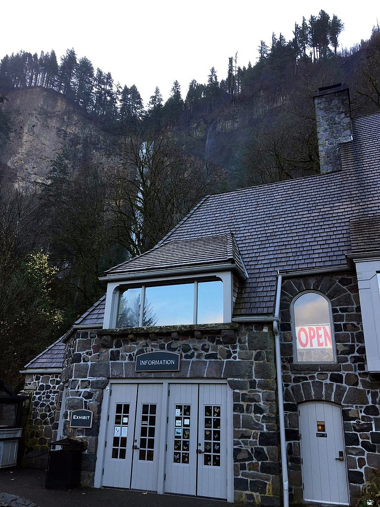 Historic Multnomah Falls Lodge, front plaza, and the I-84 parking lot reopened Nov. 29.