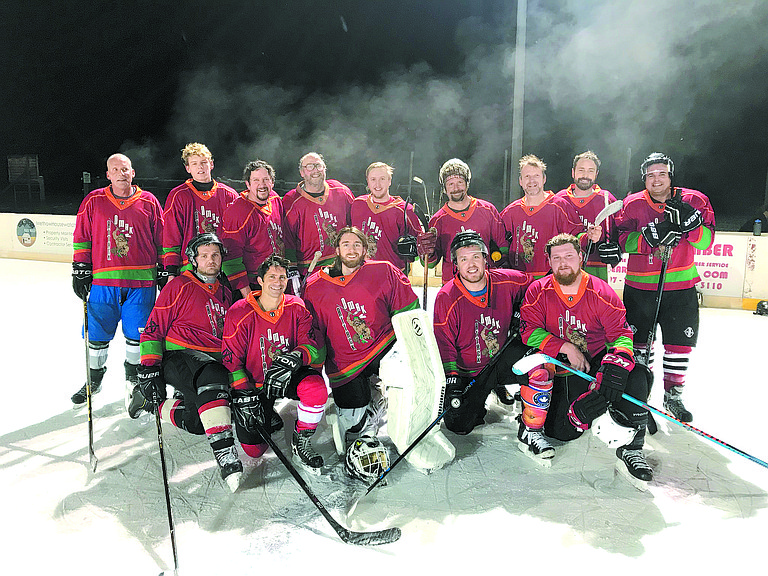 The Omak Attack hockey team finished second in its first competition of the season at the Winthrop Puck-a-Roo tournament Dec. 1-3. Omak, which competed in the C division with players from Omak, Winthrop and Tri-Cities, included (front, from left) Zach Tompers, James Desalvo, Tom Mollison, Brian Mashburn and Ross Walburn; (second) Scott Dinham, Josh Dinham, John Arterburn, Scott Greene, Gabe Greene, Greg Sklaney, Mike Kleckner, Keith Kistler and Ryan Harvey.