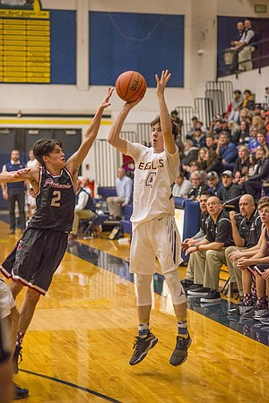 Sophomore guard Noah Webster is one of many players on this year's HRV boys basketball roster that is a threat from three.