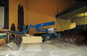 Volunteers and a crew from Griffin Construction are scrambling this week to get the theater at the Civic Auditorium ready for Monday's concert by the Trail Band.