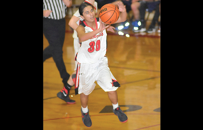 Dufur Ranger point guard Jackie Culps finds an open man inside the paint for a basket in boys basketball action inDufur. Tuesday, the Rangers overcame a seven-point deficit with a 31-18 run in the final three quarters for their first win.