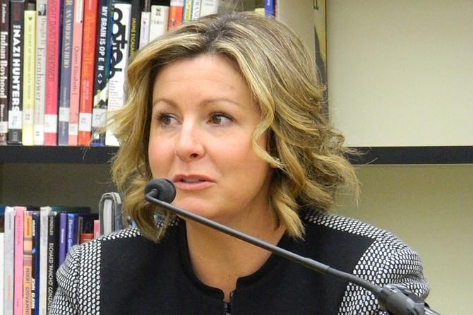 Ashley Goetz listens during her interview for the Okanogan School District superintendent's position