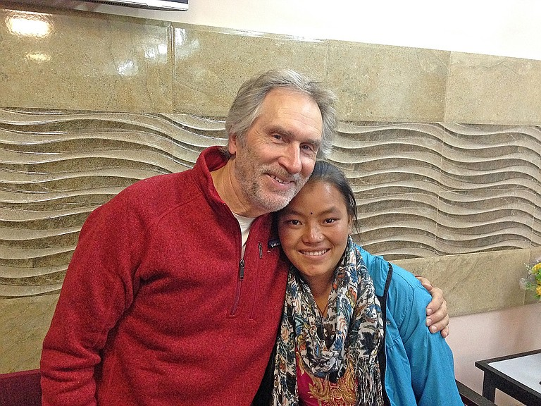 AUTHOR and photographer Peter Marbach and his Nepali friend Sumitra, whose scholarship Marbach helped found four years ago, had an emotional meeting during his visit.