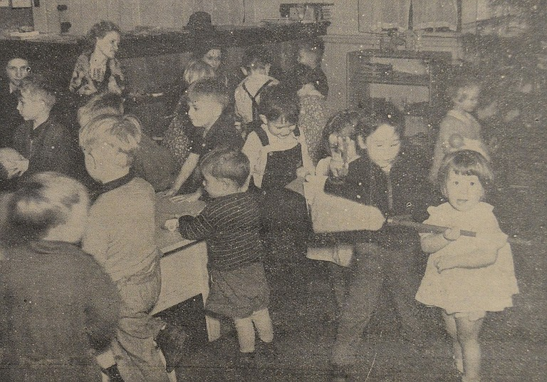 December 24, 1937: Kiddies at the WPA Nursery School at the old courthouse were caught by the News' camera man as they awaited the visit of Santa Claus. The old gentleman from the Frozen North had something for every child. H.R.N. Photo-Engraving.