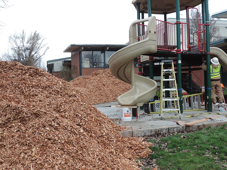 At May Street School, crews with Kirby Nagelhout Construction are working throughout winter break to prepare new playground areas on the east side of the campus in time for resumption of school on Monday.