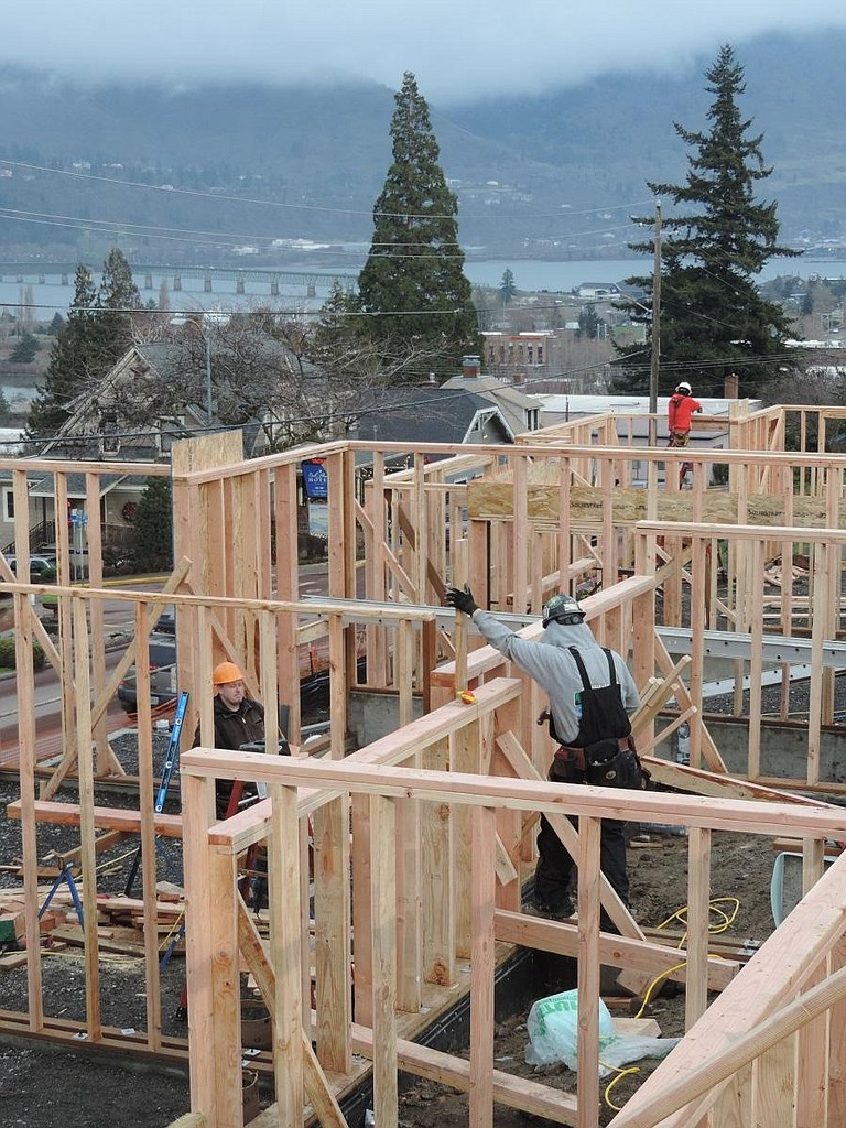 New view properties rise above Oak Street as Hood River's SMP Construction frames up the three town house duplexes between Seventh and Eighth streets.