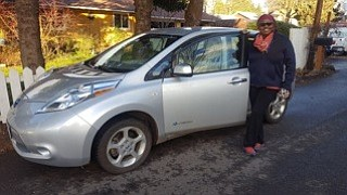 Evelyn Charity of Hood River is the winner of the Nissan Leaf electric car, won in a drawing held at Riverside Community Church. Charity, a long-time RCC member, had her name selected on Dec. 20 from nearly 400 tickets, sold by the church to raise funds for its outreach and justice work and to promote the transition to e-cars and clean energy.