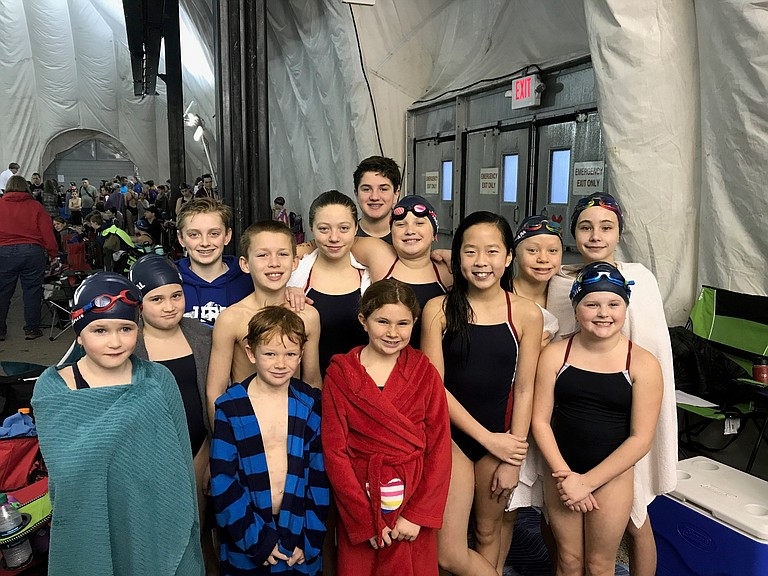 HRV swim team opened the new year at the Seth Dawson swim meet this past weekend. (Above) are the 12 and Under swimmers that competed last weekend: Max Graves, Chloe Carter, Willow Hollowell, Lean Sandoval, Sophie Helleberg, Delaney Hackett, Juliet Crain, Jackson Bullock, Gavin Hackett, Michelle Graves, Skyla Hollowell, Matthew Couvreux and Claire Couvreux.
