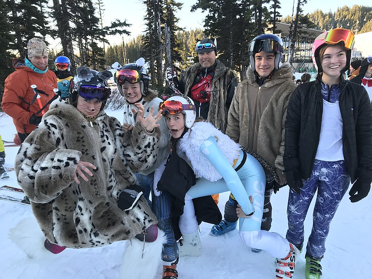"HRV ski team starts its season strong with a second-place finish by the girls and a third place finish by the boys in the Kelsey Hewitt Memorial ski race last weekend. (Above) HRV coaches and athletes show off their award winning ""animal"" costumes. The award was given to the team with the most ""creative"" costumes."