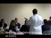 Second year nursing students at Columbia Gorge Community College train in the simulation lab.