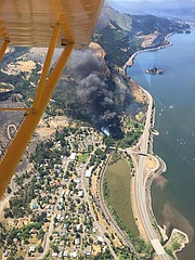 A look from the air at the oil train derailment and fire in Mosier, June 3, 2016. Video courtesy of TacAero.