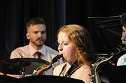 """Grangeville High School's Jazz Ensemble plays """"Jamming with Charlie"""" at the May 8, 2017, Pops concert. The group was directed by Mr. Golde who also played drums."""